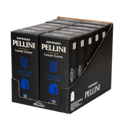 Espresso Pellini Luxury Coffee Absolute in self-protected compostable Nespresso®* compatible capsules. - 12x10 caps