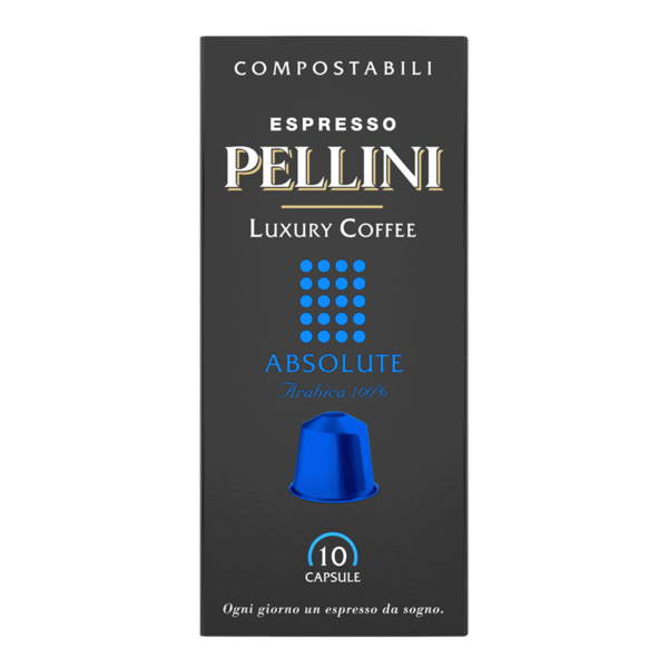 Compatible capsules - Espresso Pellini Luxury Coffee Absolute in self-protected compostable Nespresso®* compatible capsules.