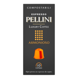 Compatible capsules - Espresso Pellini Luxury Coffee Armonioso in self-protected compostable Nespresso®* compatible capsules.