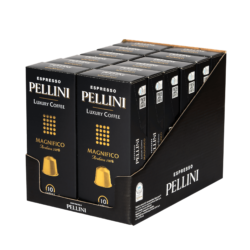Espresso Pellini Luxury Coffee Magnifico in self-protected compostable Nespresso®* compatible capsules - 12x10 caps