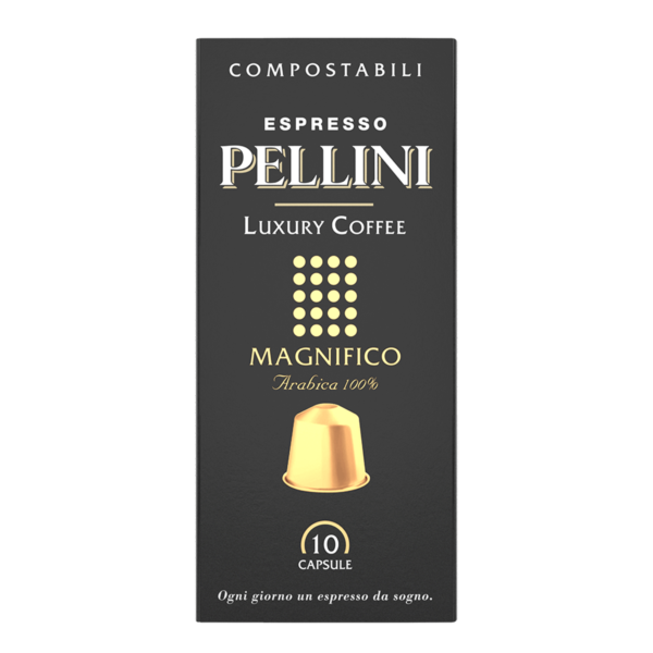 Compatible capsules - Espresso Pellini Luxury Coffee Magnifico in self-protected compostable Nespresso®* compatible capsules