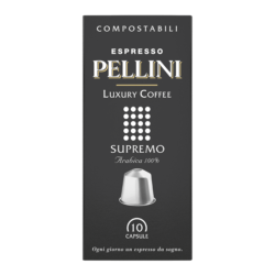 Compatible capsules - Espresso Pellini Luxury Coffee Supremo in self-protected compostable Nespresso®* compatible capsules