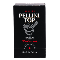 Espresso Pellini Top Arabica 100% in single use E.S.E. pods - 6x18 pods